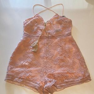 Missguided Pink Lace Romper